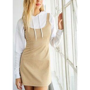 Mustard/Cream Gingham Knit Mini Dress Forever 21
